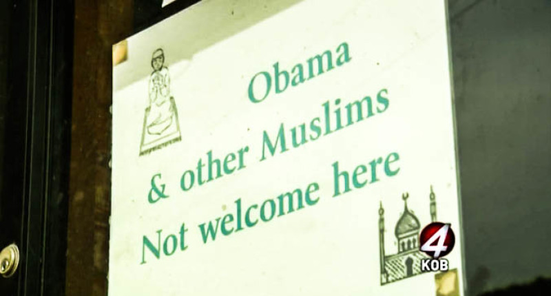 A convenience store in New Mexico has posted a sign telling Obama and 'other Muslims' that they are not welcome (Screen cap via KOB 4).