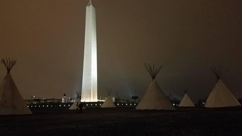 Tipis on the National Mall, near the White House, as water protectors gather for a march advocating for indigenous rights and a halt to environmental destruction. Kandi Mossett/Facebook.