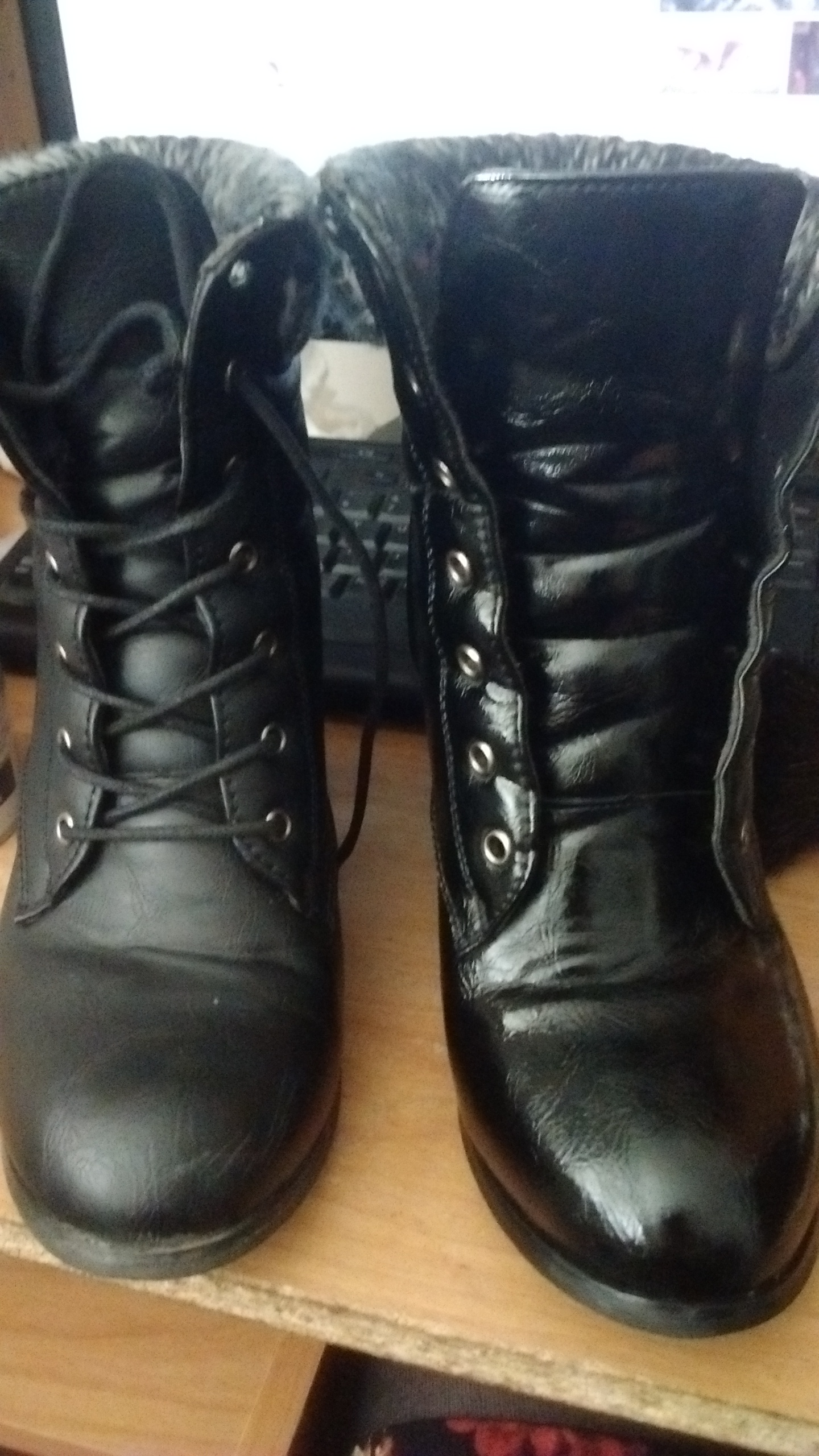 My sassy boots. Left: Before. Right: After