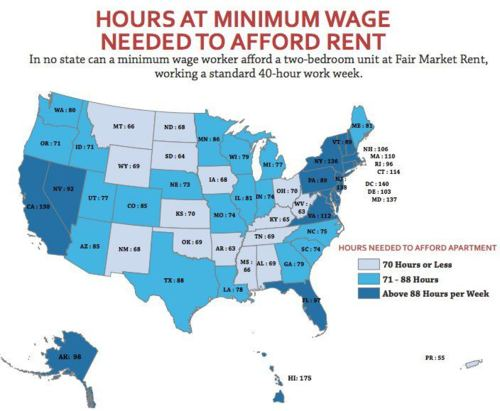 A map of the USA, coloured by the number of hours you have to work minimum wage to earn a living
