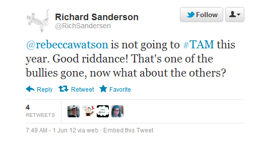 RichSandersen calls Rebecca Watson a &quot;bully&quot;