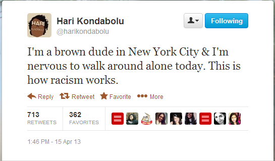 I'm a brown dude in New York City & I'm nervous to walk around alone today. This is how racism works.