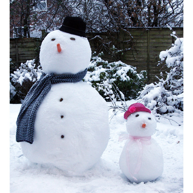 Father and Daughter Snowpeople