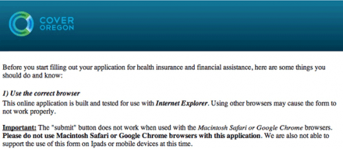 Oregon health exchange requires Microsoft Internet Explorer!