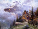 Star Destroyer cruising past a Kinkade cottage