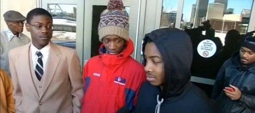 Three boys (l-r) Daequon Carelock, Wan'Tauhjs Weathers and Raliek Redd were arrested in Rochester while waiting for bus to basketball scrimmage