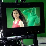 Green ninjas help shampoo and hair dye commercial actresses do their hair swing.