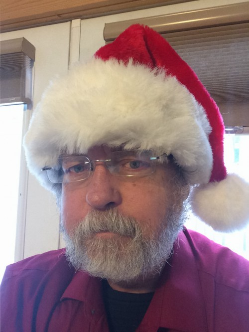 God-hating atheist wearing a Christmas hat, just like our Lord and Savior Jesus Christ would have worn.