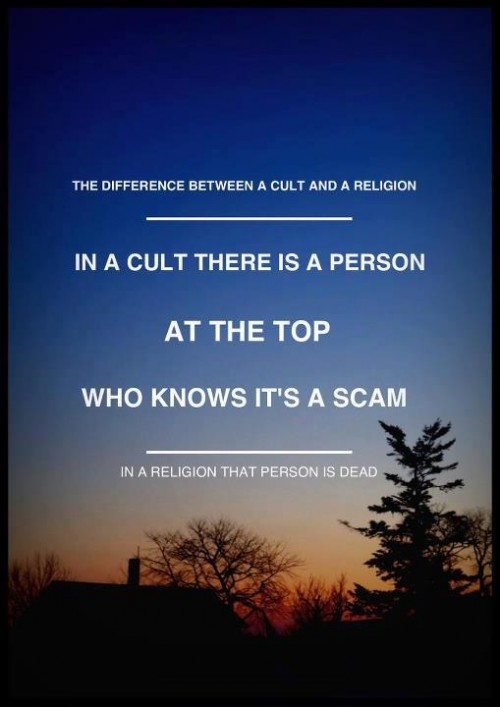 the question of when a religion become a cult and when a cult becomes a religion Here's my response to rajni's question  of cults, religions, and science as  to be looked upon as a cult, having become a recognized religion.