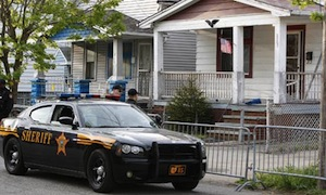 Police at the house in Cleveland