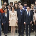 The French president and prime minister with all the women cabinet members.