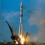 A Soyuz-U rocket launching the Soyuz 19 mission, part of the Apollo-Soyuz Test Project circa 1974