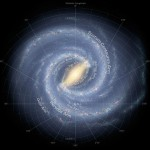 A simulated top-down view of the Milky Way galaxy