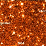 These two infrared images were taken by the Spitzer Space Telescope in 2004 and 2009. They show a faint object moving through space together with a white dwarf. The brown dwarf, named WD 0806-661 B, is the coldest companion object to be directly imaged outside our solar system. Credit: Kevin Luhman, Penn State University, October 2011