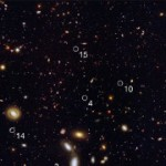 Dwarf Galaxies 9 billion light-years away in near infrared. Image courtesy NASA/ESA
