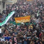Activists published photos purportedly showing a mass protest in the city of Hama. Image courtesy BBC