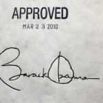 Presidential signature on the ACA. Click image for round up on Daily Kos. Obama and Romney scheduled to address the nation within the hour.