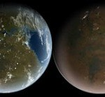 The great drying: Mars as it may have appeared billions of years ago on the left and Mars as it appears today far right