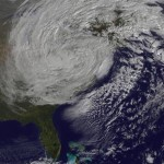 Satellite image of Superstorm Sandy taken at 10 AM EDT Tuesday. Image NASA GSFC. Click for info at Climate Progress.