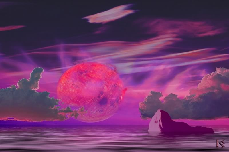 A hypothetical water world with the red dwarf Gleise581 glowering on the horizon.