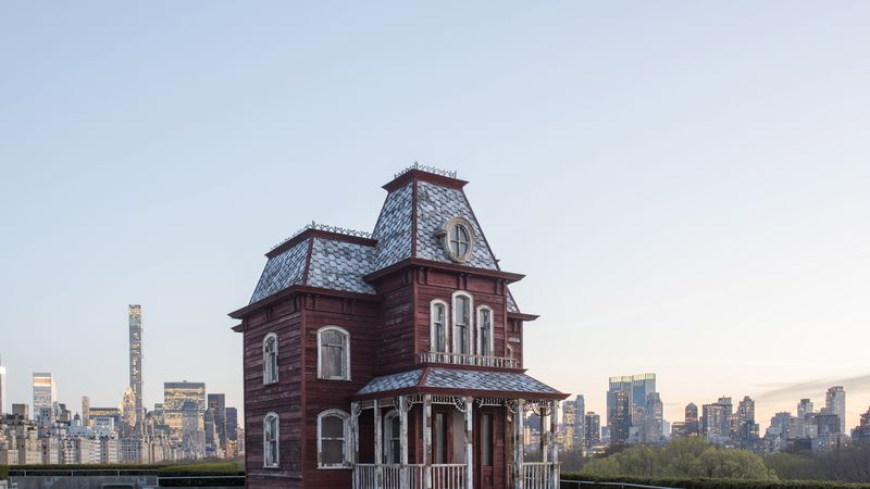 """Cornelia Parker's """"Transitional Object (PsychoBarn)"""" on the roof of the Met Fifth Avenue Photographed by Alex Fradkin, Photo courtesy Cornelia Parker"""