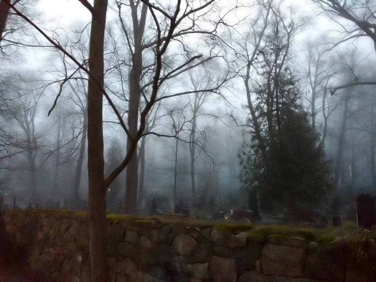 Hietaniemi cemetary in fog.