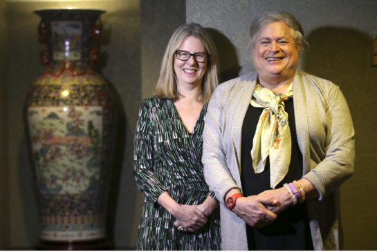 Jennifer Pritzker, right, and Brenda Cossman of the Mark S. Bonham Centre for Sexual Diversity Studies at the University of Toronto, was in town recently to receive an award for her contributions to the field of sexual diversity education. Vince Talotta / Toronto Star