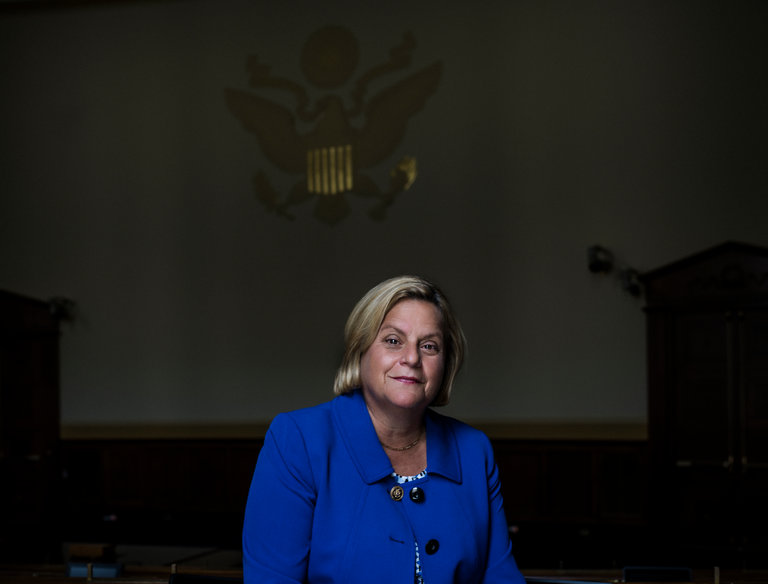 Representative Ileana Ros-Lehtinen, at her office on Capitol Hill, has veered away from many Republicans on gay and transgender issues. Credit Chad Batka for The New York Times