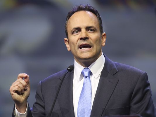 Kentucky Gov. Matt Bevin speaks during the 145th NRA Convention inside Freedom Hall on Friday afternoon. May 20, 2016(Photo: Alton Strupp/The Courier-Journal)