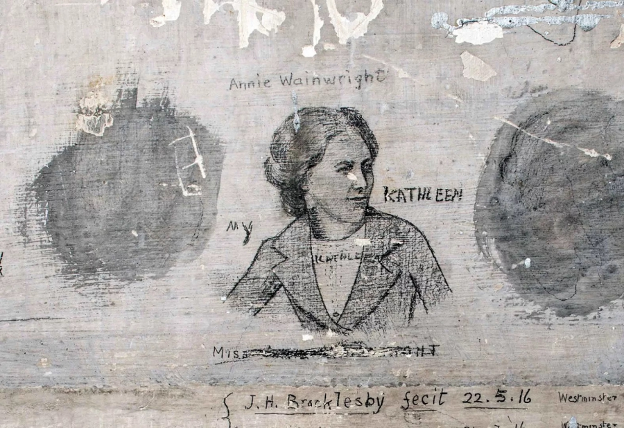 Bert Brocklesby, one of the so-called Richmond Sixteen, drew this delicate sketch of his fiancée, Annie Wainwright. Credit: English Heritage
