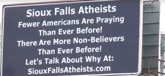 (Photo: Screenshot/KSFY-TV) Atheist billboards in Sioux City, South Dakota.