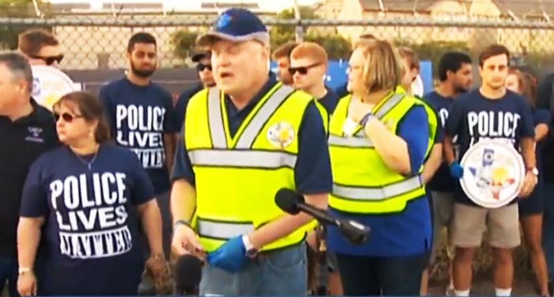 Protestors outside Beyoncé concert in Houston -- (KHOU screen grab)