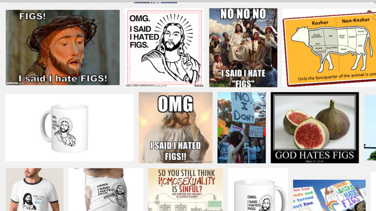 A screen shot of various Jesus memes captured on a Google search.
