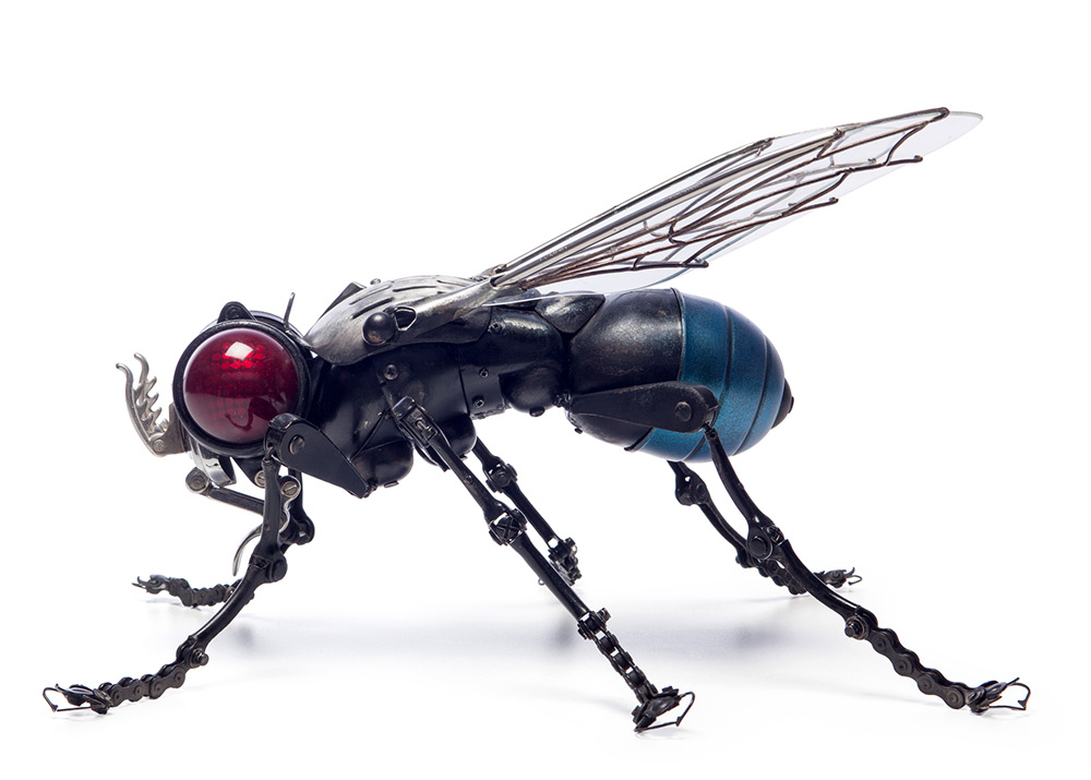 Fly, 47 x 40 x 27 cm. LEGS : windshield wiper arms, bike brakes, bike chains, small typewriter parts; HEAD: motor vehicle rear light; PROBOSCIS: car hood hinge; ANTENNAE: ski boot fasteners; THORAX: motorbike headlight; On the top : 50's kitchen utensil. WINGS: the glass is set in a windscreen brush holder, the wing ribs are made with soldering wire; ABDOMEN: motorbike headlight, part of ceiling lamp.