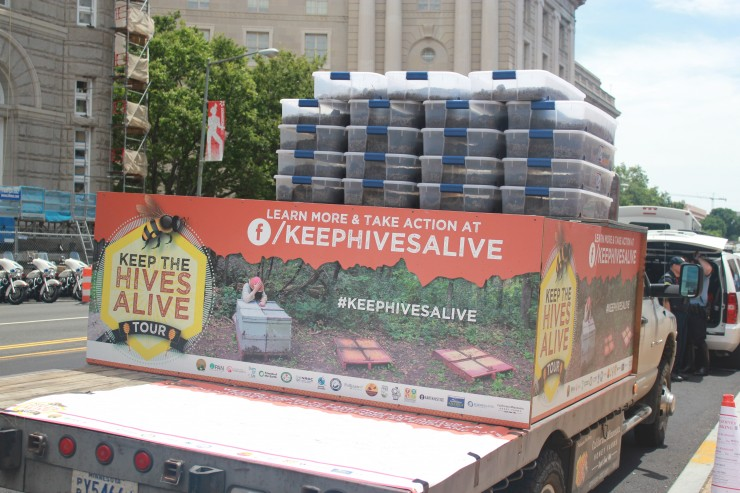 The Keep the Hives Alive tour truck arrives at the EPA, carrying millions of dead bees. CREDIT: courtesy of Friends of the Earth