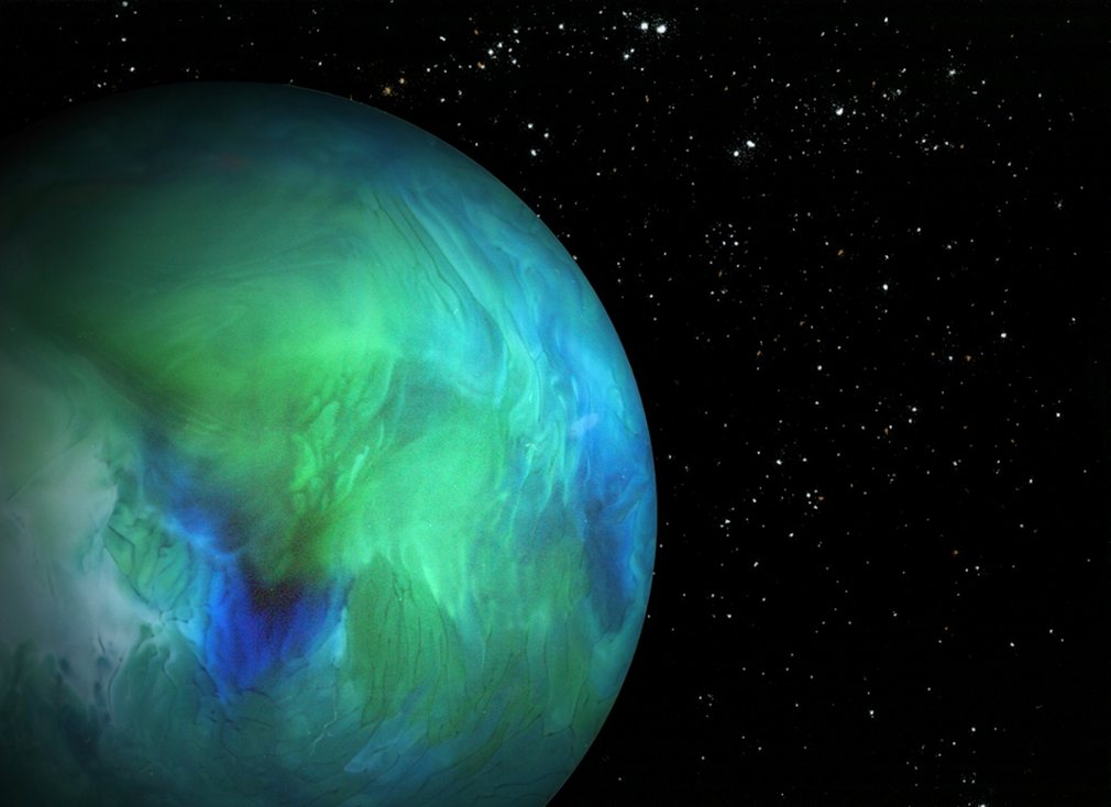 For his Wander Space Probe series, Navid Baraty made a planet by scanning the bottom of a glass containing water and food colouring, and conjured stars from salt, cinnamon and baking powder. Photographs: Navid Baraty.
