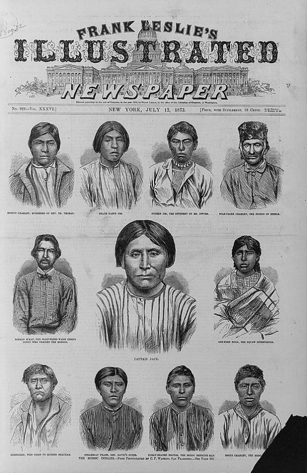 Courtesy Library of Congress Prints and Photographs Division Washington, D.C. This front page of Frank Leslie's Illustrated Newspaper ran with portraits of 11 Modoc Indians, who ended up as federal prisoners.