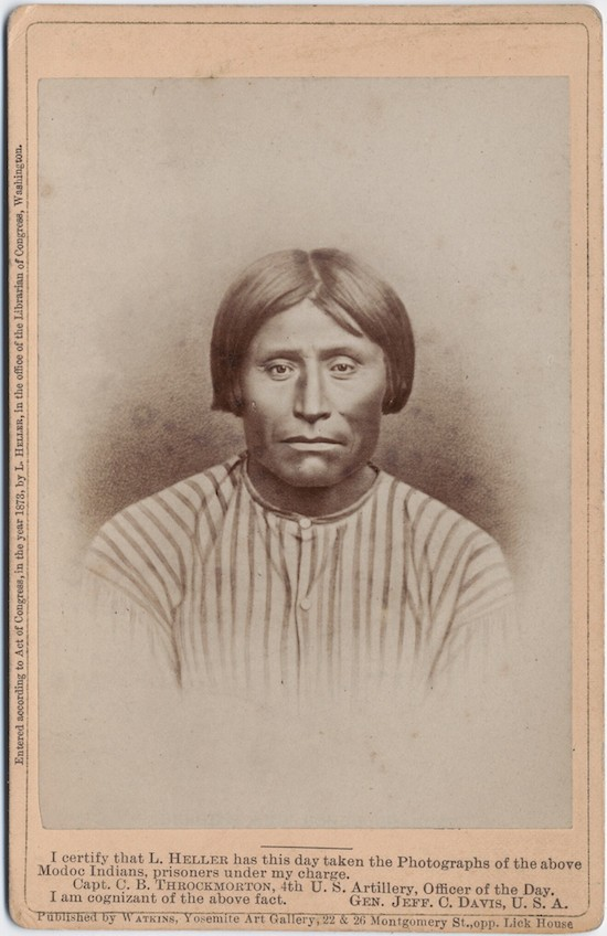This image of Kientpoos (Captain Jack) was among those taken by Louis Herman Heller during and after The Modoc War. (Housed at: Beinecke Rare Book and Manuscript Library)
