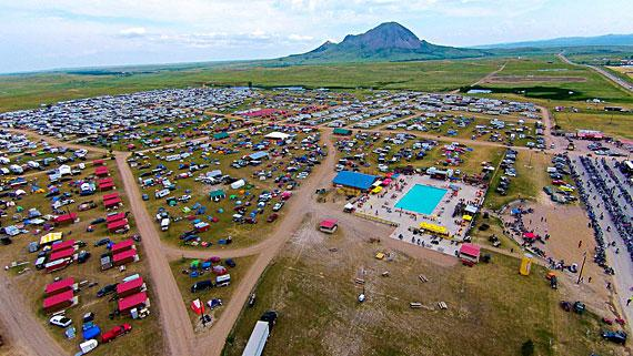 Courtesy aimag.com The new Full Throttle Saloon's plans call for construction of 400 cabins and RV hookups shown in the aerial photo at the base of Bear Butte.