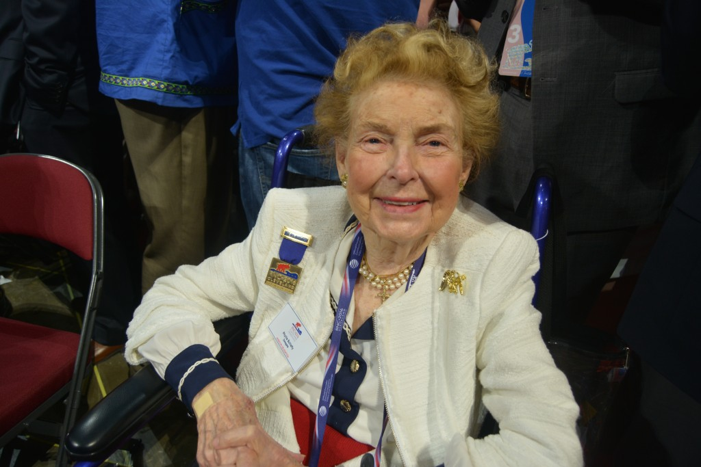 Delegate Phyllis Schafly watches the speeches Wednesday night of the RNC. Credit: Kira Lerner.