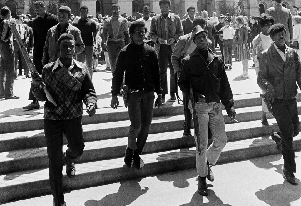 Armed members of the Black Panther Party leave the Capitol in Sacramento, California May 2, 1967.