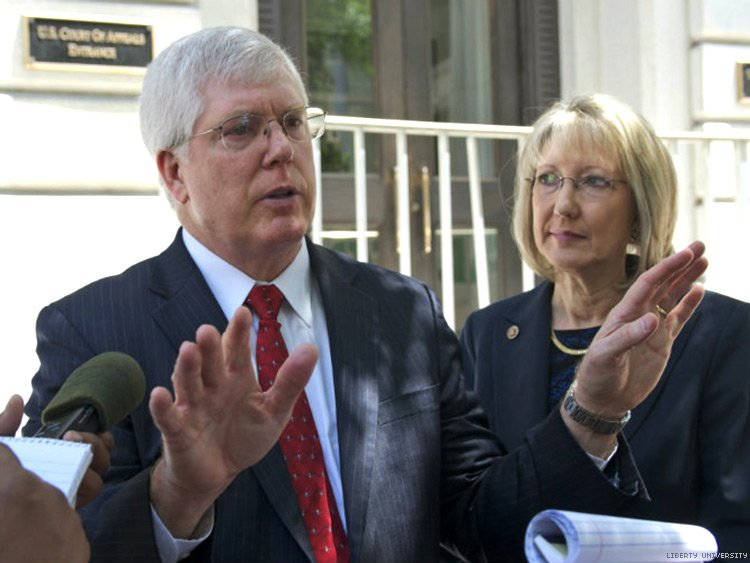 Liberty Counsel founder and chairman Mat Staver (left) with his wife and Liberty Counsel president Anita Staver. Credit: Liberty University.