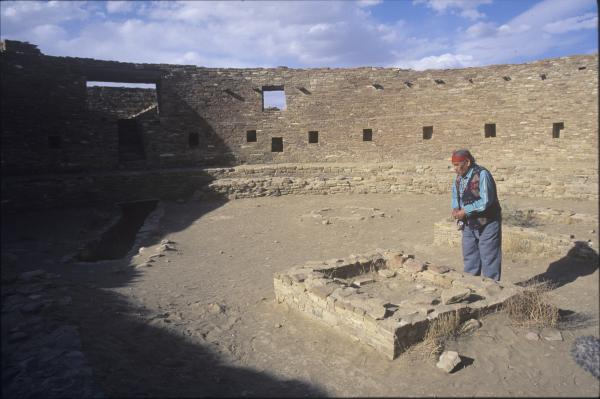 The late Thomas Banyacya, Hopi Traditional Spokesman, is seen here in Chaco Canyon. Courtesy Christopher McLeod.