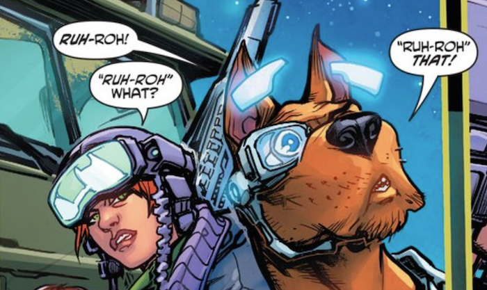 Panel selection from Scooby-Doo Apocalypse #4. Illustrated by Howard Porter with colors by Hi-Fi. Screencap via the author.