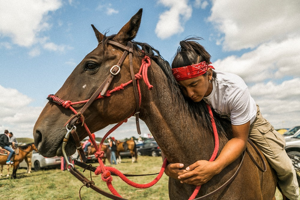 A young warrior at the opposition to Dakota Access Pipeline.