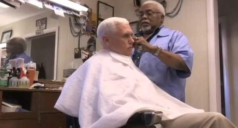 Indiana Gov. Mike Pence (R) gets a haircut in Norristown, Pennsylvania on Aug. 23, 2016. (CNN).