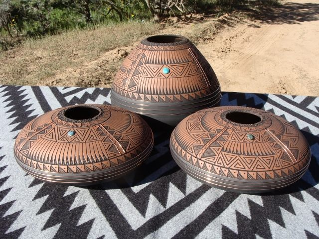 Gerald Pinto's Elemental gourd and seed pots. (Courtesy)
