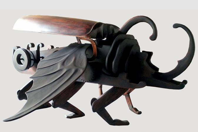 The Power of Kumbang Tanduk 120 x 120 x 120 cm Mindi and Acacia Wood 2014.