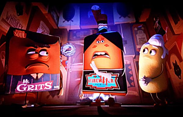 A 'Sausage Party' movie moment between 'Frank' (Seth Rogen) and an Indian Chief that is a bottle of alcohol labeled 'Firewater' (Bill Hader), as well as the Indian's compatriots, an African American who is a box of grits and a white man who is a Twinkie.
