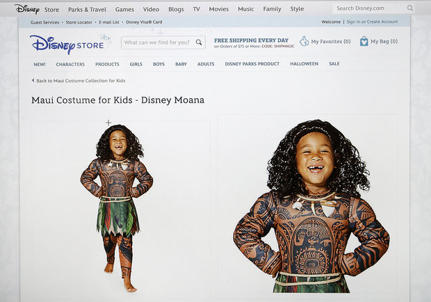 DisneyStore.com's Halloween costume depicting the Polynesian demigod Maui from the upcoming movie 'Moana.' Disney said it would stop selling the costume which some had compared to blackface. (DisneyStore.com via AP).
